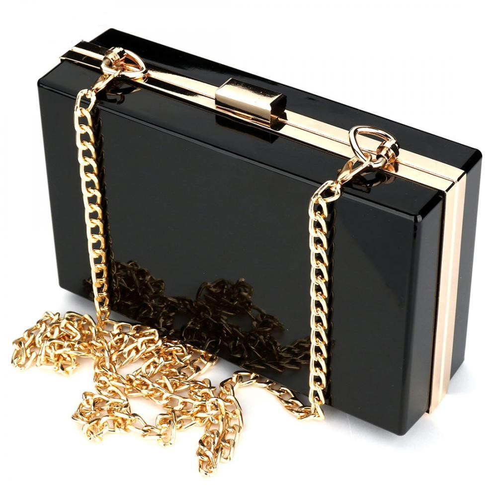 Black Luxury Women Bags PVC Evening Party Bag for Female Clutch Bag Pink Ladys Clutches Handbag Famous Brand Chain Shoulder Bag