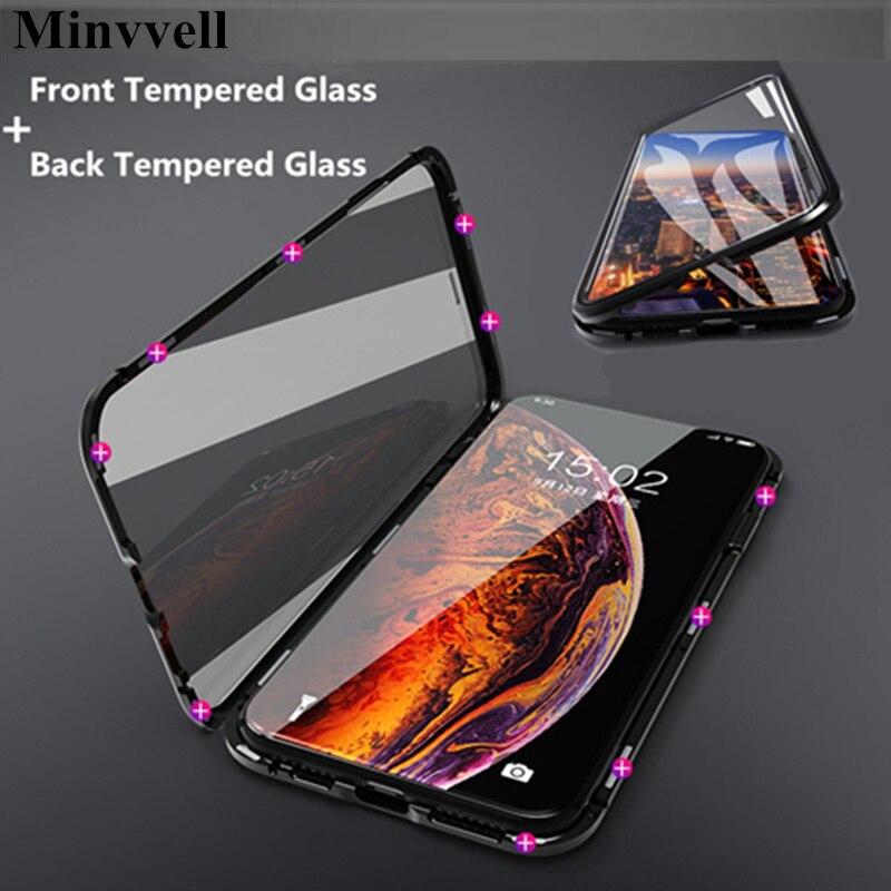 Магнитная адсорбции Металла Чехол для iPhone X XS 7 8 плюс магнит спереди + Назад закаленное стекло флип чехол для телефона iPhone Max