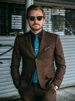 Vintage Brown Tweed Herringbone Suit Men Fall Winter Slim Fit Men Blazer Jacket Latest Designs Classic Men Suits With Pants