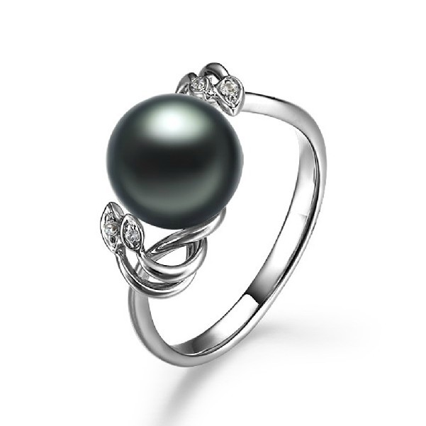 9 10mm Natural Tahitian Black Pearl Ring Gvbori 18k Gold Diamond For Women Engagement Real In Rings From Jewelry Accessories On