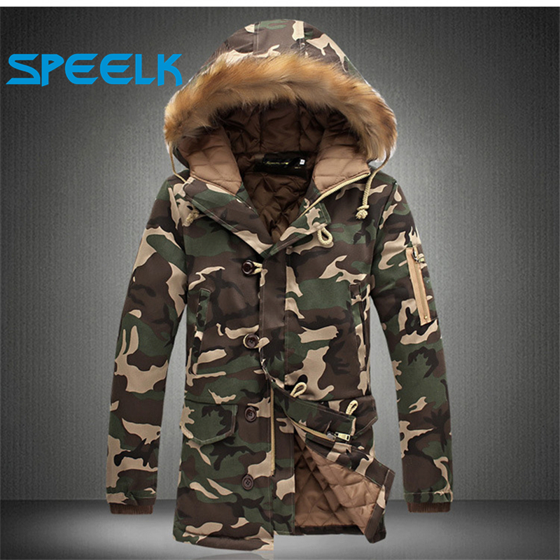 Brand New Camouflage Jackets Men Women Winter Snowcoat Fur Collar Military   Parka   Coat Couples Thick Cotton-padded Jacket
