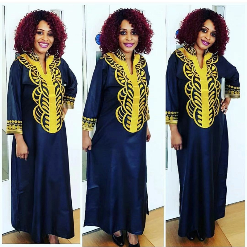 H&D Plus Size African Dresses For Women Africa Head Wraps Long Robe Africaine Femme 2019 Embroidery Bazin Dress