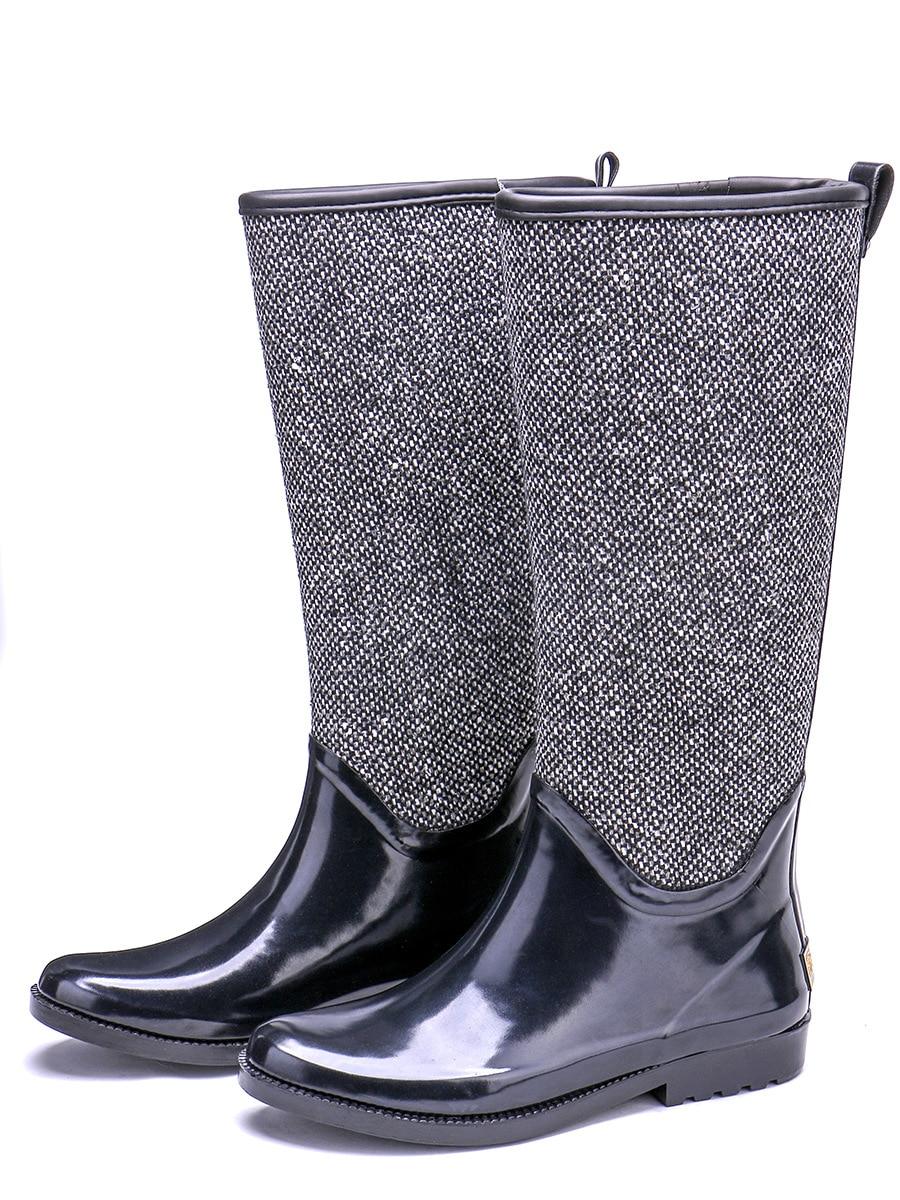 EXCARGO/женские резиновые сапоги; высокие водонепроницаемые сапоги; коллекция 2019 года; сезон весна осень; Новинка; качественные женские высокие сапоги; водонепроницаемая обувь; экологически чистые резиновые сапоги - 2