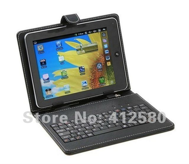"Free Shipping Leather Case Bag & USB Keyboard for 7 inch 7"" Tablet  pc keyboard case (Black)"