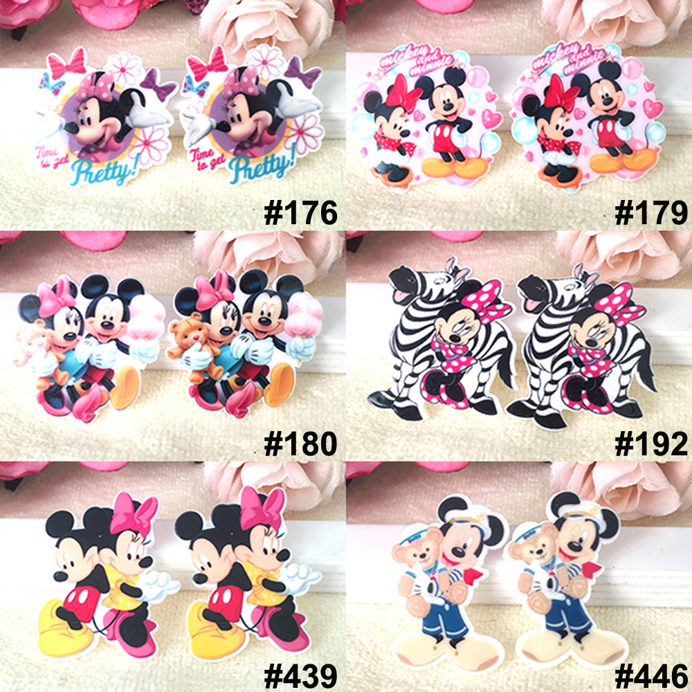 60pcs Mixed Cartoon Character Mouse Flat Back Resins Assorted Planar Resin Cabochon DIY Craft For Home Decoration Accessories
