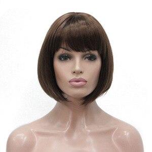 Image 4 - Parrucche da donna durable beauty Bob capelli neri parrucca corta senza cappuccio sintetica naturale diritta scelte di colore