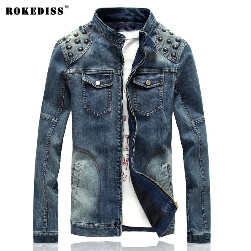ROKEDISS Men's Denim Jacket high quality fashion Jeans Jackets Slim fit casual streetwear Vintage Rivets Mens jean clothing high quality mens jeans ripped colorful printed demin pants slim fit straight casual classic hip hop trousers ripped streetwear