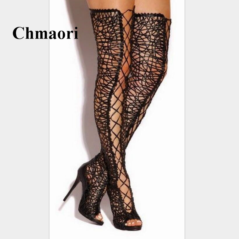 2018 Newest Sexy Lace Cross-tied Peep toe Thin High Heel Fashion Long Tube Over-The-Knee Women Boots Summer Shoes Boots 2017 spring newest women boots super high thin heels over the knee peep toe designer platform boots cross tied women boots