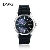 Luxury Brand Wholesale Quartz Watches Green Silicone Strap Unique Watch Case Beautiful Flowers Dress Women Men