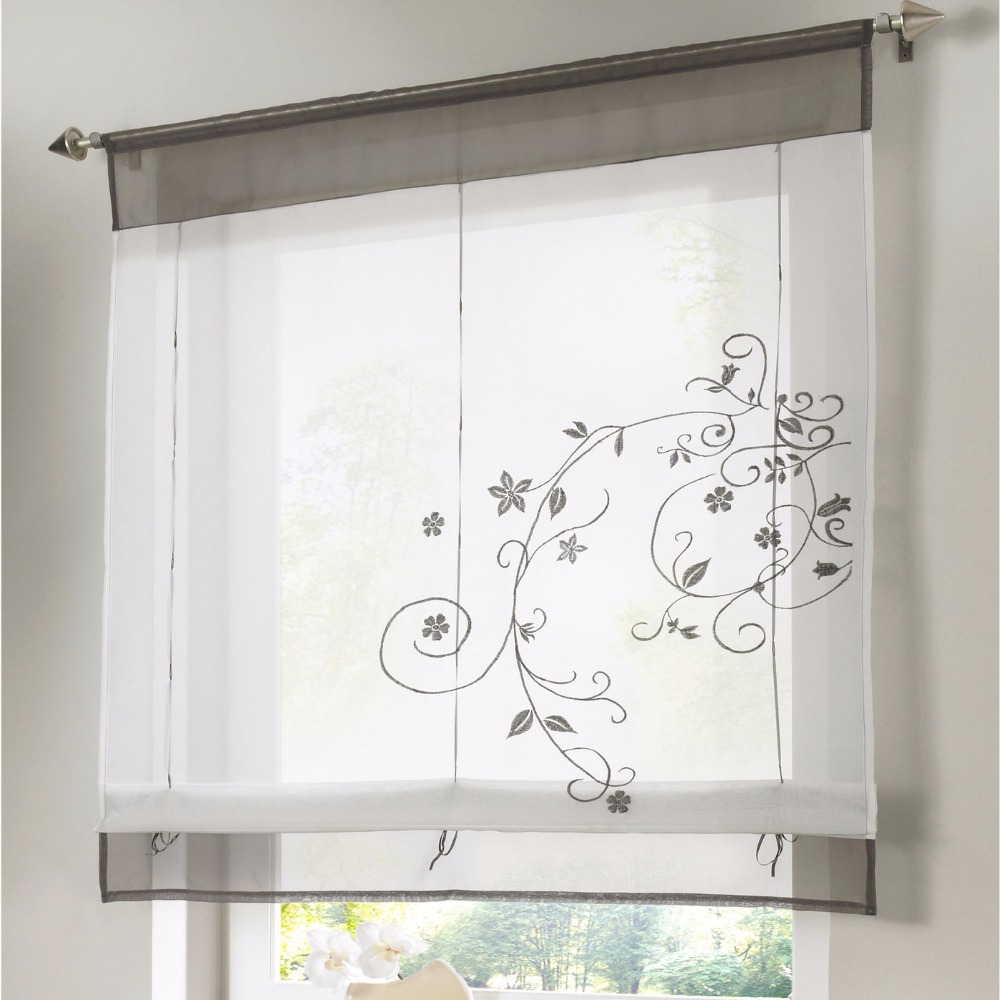 Roman Finished Curtain Embroidered Rustic Curtain Blinds For Kitchen Height Liftable Gauze Small Coffee Curtain DL005&3