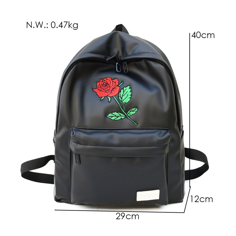 5ec4a983d7c0 MENGHUO 2018 PU Leather Backpack Women Rose Men Embroidery Backpacks Unisex  Couple Travel Bags Students Book