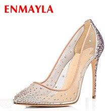 ENMAYLA 2017 Crystal Verano Zapatos Mujer Tacones Altos Poined Toe bombas de Zapatos Claros Talles para Las Mujeres 46 Señoras Del Banquete de Boda zapatos