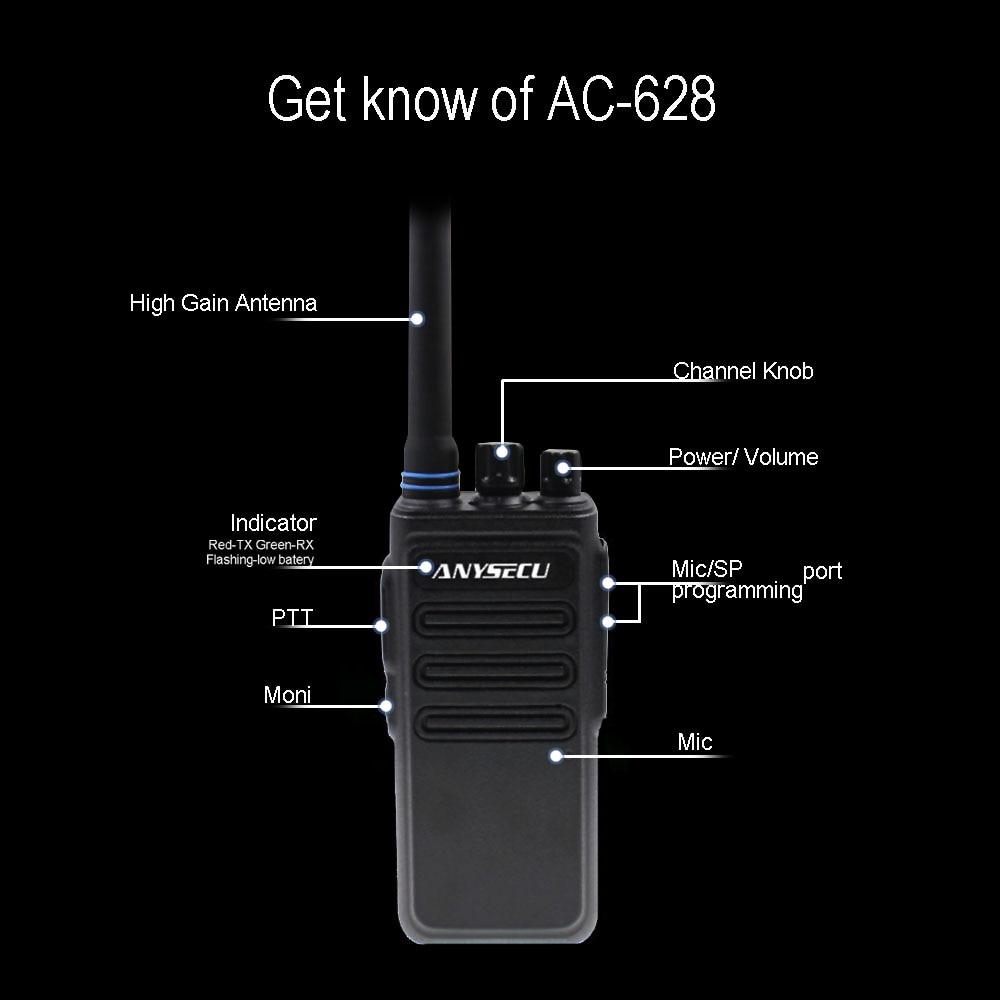 Image 5 - High Power 12W long distance walkie talkie ANYSECU AC 628 UHF Wireless Intercom analog 16CH scrambler Two Way Radio-in Walkie Talkie from Cellphones & Telecommunications