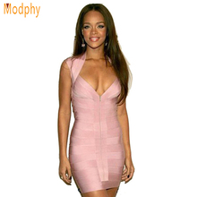 Women Sexy Pink HL High Quality Bandage Dress Celebrity Party Bodycon Sexy Club Party Bodycon Vestido Dropship HL1261