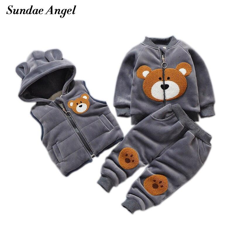 Sundae Angel Kids Winter Suit Girls Baby Boy Set Winter Clothing Vest Coat Pants 3 piece Thicken Silver Fox Velvet Children Sets цена