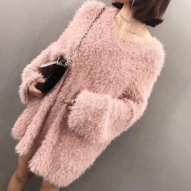 À Rose 2018 Femmes Chandail Long Pour Tricoté Robe Manches Femelle Les Longues Automne Pull Casual wrqI6WRr1