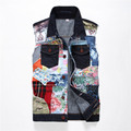 New Fashion Men`s Denim Vest Patchwork Personality Patch Hip Hop Slim Fit Sleeveless Mens jacket Vests For Male