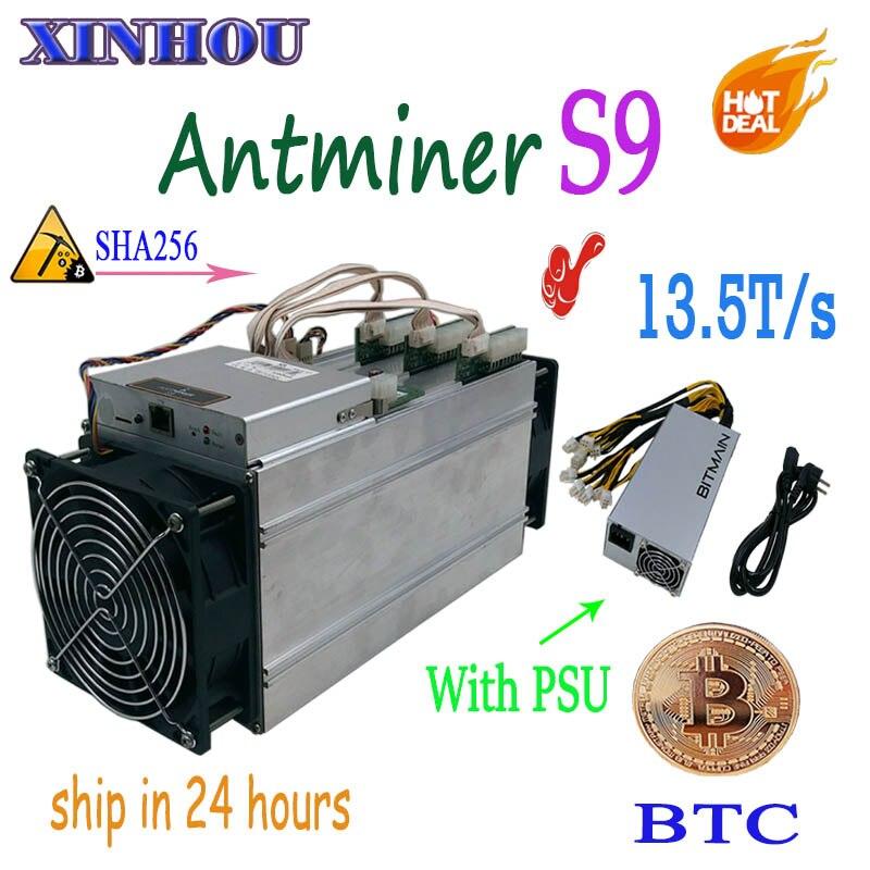 Utilizzato BTC BCH Minatore AntMiner S9 13.5 T Asic sha256 Bitcoin minatore Con BITMAIN APW3 + + 1600 W PSU Economico di S9 S11 WhatsMiner M3X