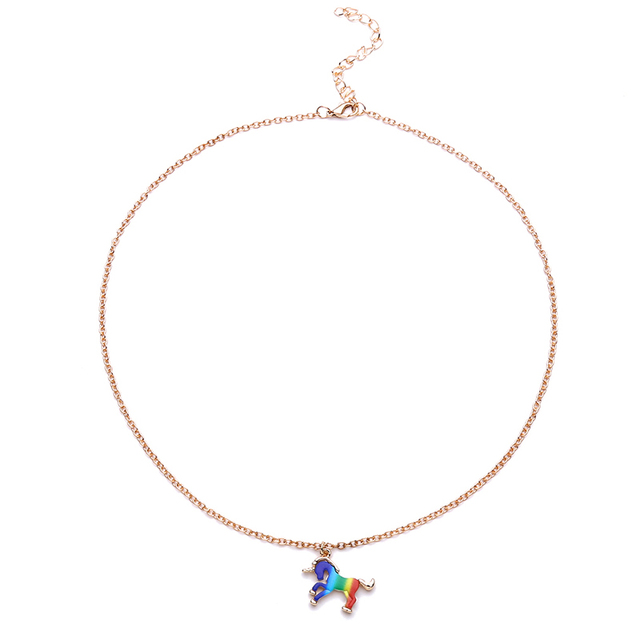 Trendy Colorful Unicorn Shape Pendant Necklace Jewelry