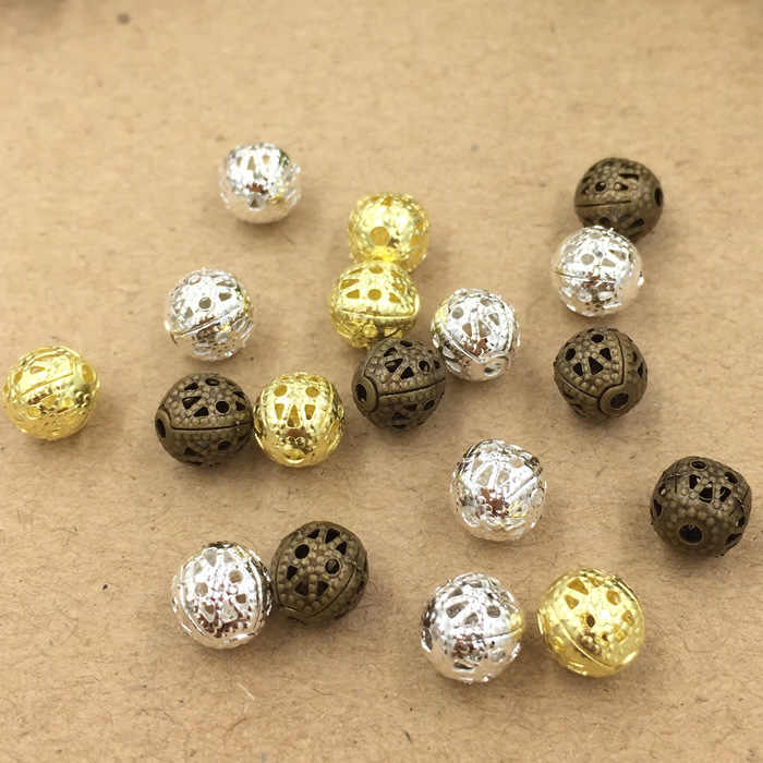 3 Colors 4mm 6mm 8mm Copper Material Spacer Beads Hollow Beads Charm For Bracelets Necklace