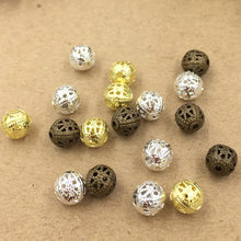 50%OFF(50 pcs or more) 3 Colors 4mm 6mm 8mm Copper Material Spacer Beads Hollow Beads Charm For Bracelets Necklace(China)