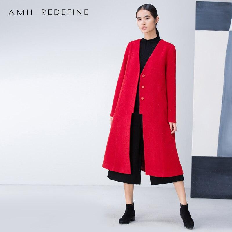 Asymétrique white Mélanges Redéfinir 2018 Coa Red Casual De La Woolen Plus Laine cou Longue Veste Blue Lâche Manteau Solide Amii Femmes Coat V navy Coat Taille Fentes D'hiver df8gYUqw
