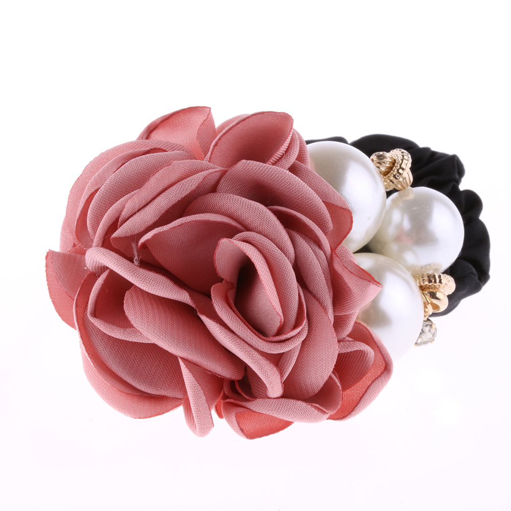 1 PC Fashion Women Satin Ribbon Big Rose Flower Pearls Hairband Floral Decor Elastic Ponytail Holder Hair Band Accessories аддиктаболл шар лабиринт малый
