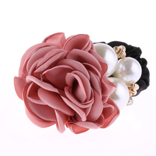 1 PC Fashion Women Satin Ribbon Big Rose Flower Pearls Hairband Floral Decor Elastic Ponytail Holder Hair Band Accessories