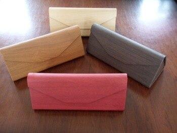 Holz design pu-leder brillen dreieck faltbare magnet fall mit gummi touch oberfläche