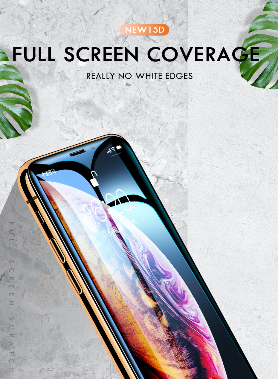 15D Protective Glass on the For iPhone 6 6s 7 8 plus XR X XS glass full cover iPhone Xs Max Screen Protector Tempered Glass 1