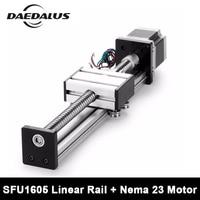 Linear Rail Cnc Router Ballscrew 1605 600mm Travel Length Linear Guide Rail Cnc Stage Motion Mould + Nema23 Stepper Motor