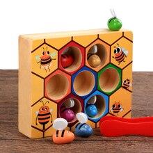 Монтессори развивающие трудолюбивые маленькие пчелы Деревянные игрушки для детей Интерактивные игрушки улей игровая доска для веселые детские игрушки