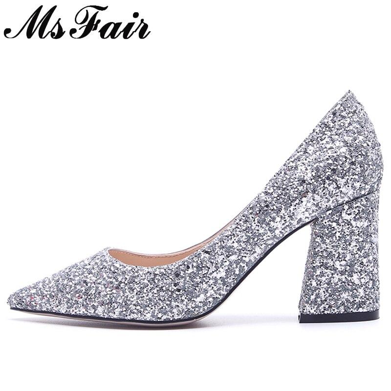Msfair Peu Noir Bling Aiguille Haute Pointu Pompes Mariée 2018 or Mariage Profonde argent Mode Talon Talons Femmes De Femme Bout Chaussures 54LRAj