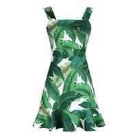 優雅なレトロ魚尾ドレスノースリーブドレス用パーティーグリーンバナナの葉プリントプリーツヴィンテージデザインボールドレ