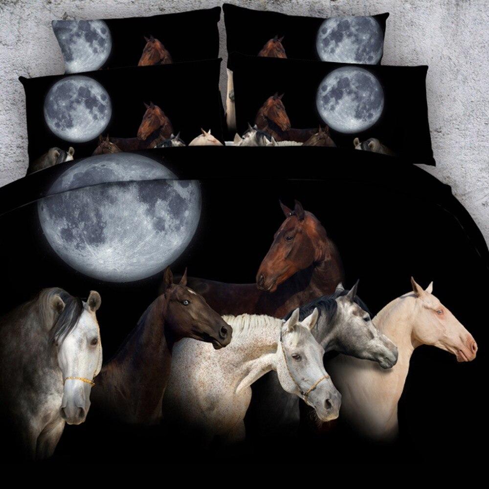 Golnier 6 pièces par Set chevaux sous magnifique ensemble de lit 3d pleine lune linge de lit 3d