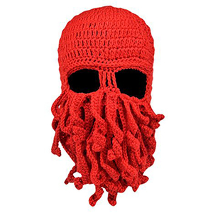Image 4 - Winter face mask hand woven mask snowboard octopus wool balaclava funny hat warm bonnet homme cap face mask winter casual cap