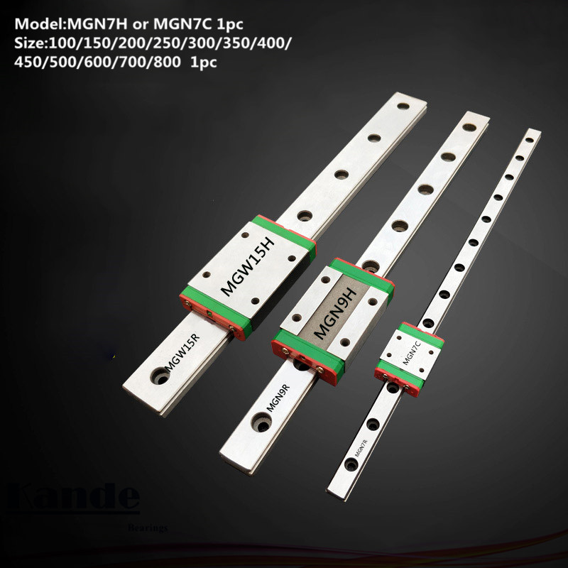 MGN7 CNC 7mm miniature linear rail guide MGN7C L100 - 800 mm MGN7H linear block carriage or MGN7H narrow carriage цена