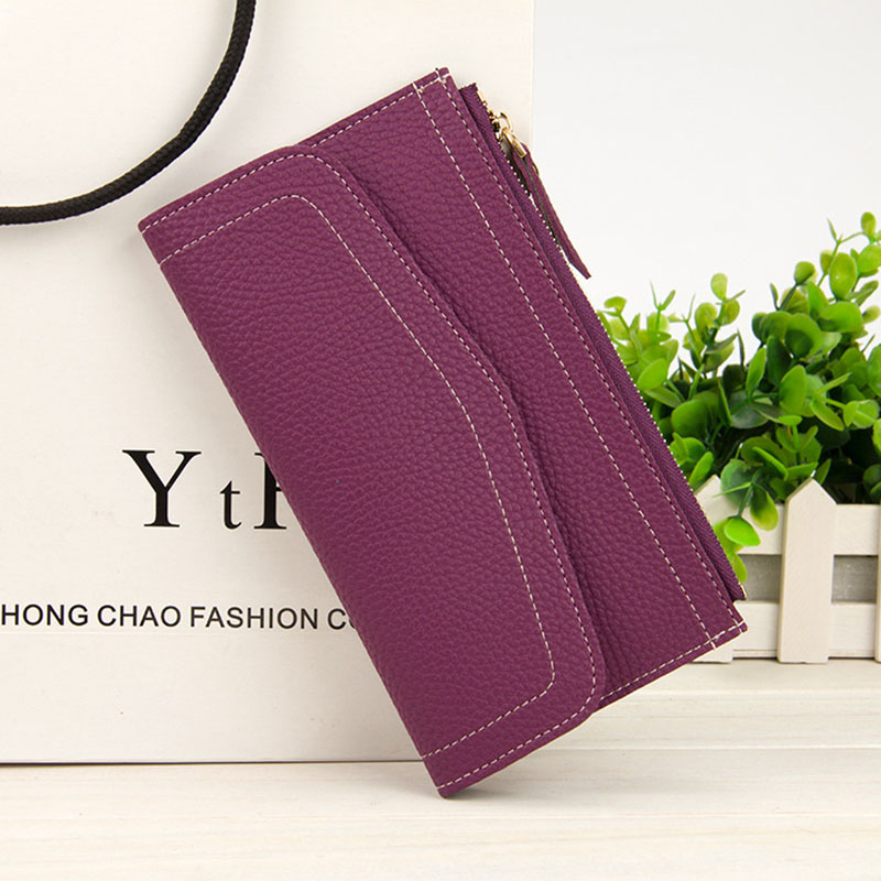 Multi-functional Fashion Long Clutch Wallet Women Pu Leather High Quality Ladies Casual Zipper Hasp Purse Bag Cell Phone Holder
