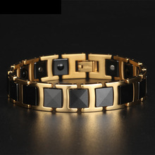 Healing Magnetic Bracelet Men/Woman 316L Titanium  3 Health Care Elements(Magnetic,FIR,Germanium) Gold Hand Chain