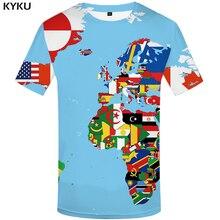 KYKU Brand World Map T shirts Men Colorful shirt 3d Graffiti Tshirt Homme Funny Tshirts Casual Print Mens Clothing Fashion