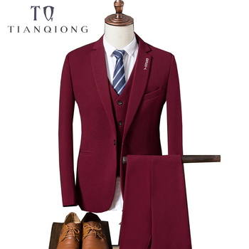 TIAN QIONG hombres 2018 otoño ajustado Fit trajes de boda para hombres 3  unidades piezas chaqueta pantalones chaleco traje negro azul blanco rojo  hombre ... d099fc99306