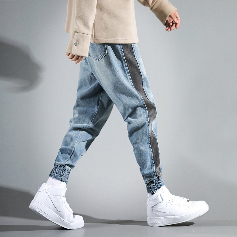 Fashion Streetwear Men Jeans Loose Fit Side Stripe Designer Cargo Pants Harem Jeans Men Japanese Style Hip Hop Joggers Jeans