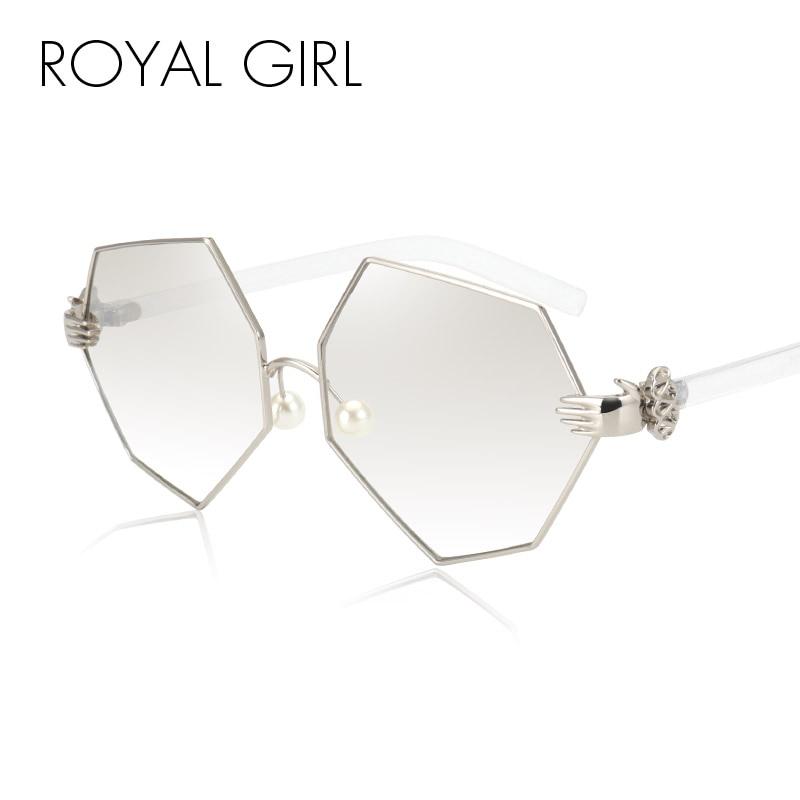 ROYAL GIRL napszemüveg nők tervező márka divat gyöngy napszemüveg gradiens lencse női UV400 Vintage szemüveg Oculos ss228