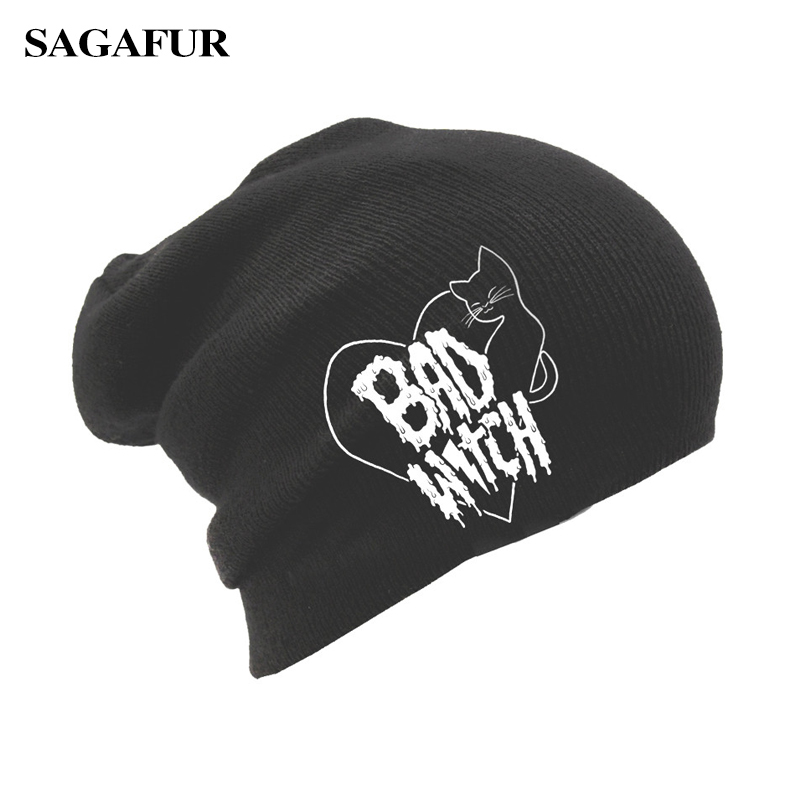8543b760404e Cool Cat Embroidery BAD WITCH Unisex Slouchy Cap Women's Autumn Winter  Bonnet Casual Brand Knitted Hat Female Skullies Beanies