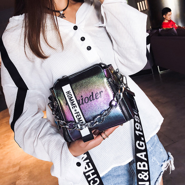 DikizFly Laser Women Bags Fashion Luxury Shoulder Handbags Chains Crossbody Bag Women 2018 Letter Mini Flap Purse bolsa feminina 1