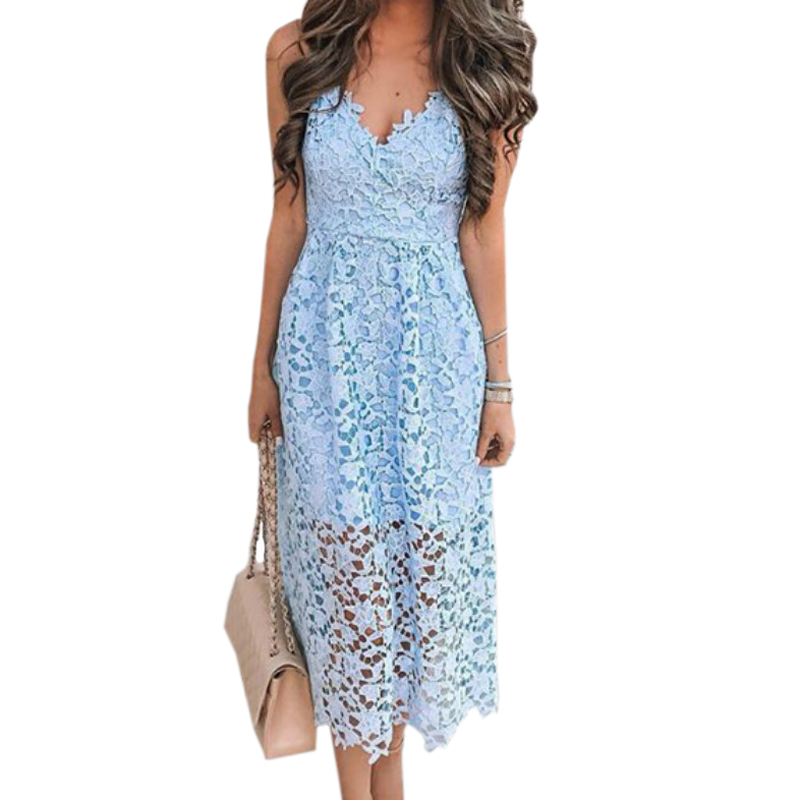 Girls Hollow Out A-line Sundress Women Sexy Spaghetti Strap Backless Summer Lace Dresses Femme V-neck Midi Dres Plus Size GV870