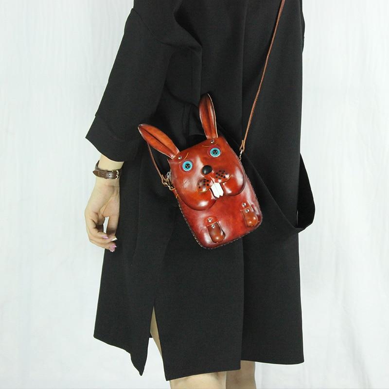 Handmade red rabbit animal shaped bag Genuine Leather lovely handbag cartoon zero wallet Crazy rabbit Shoulder