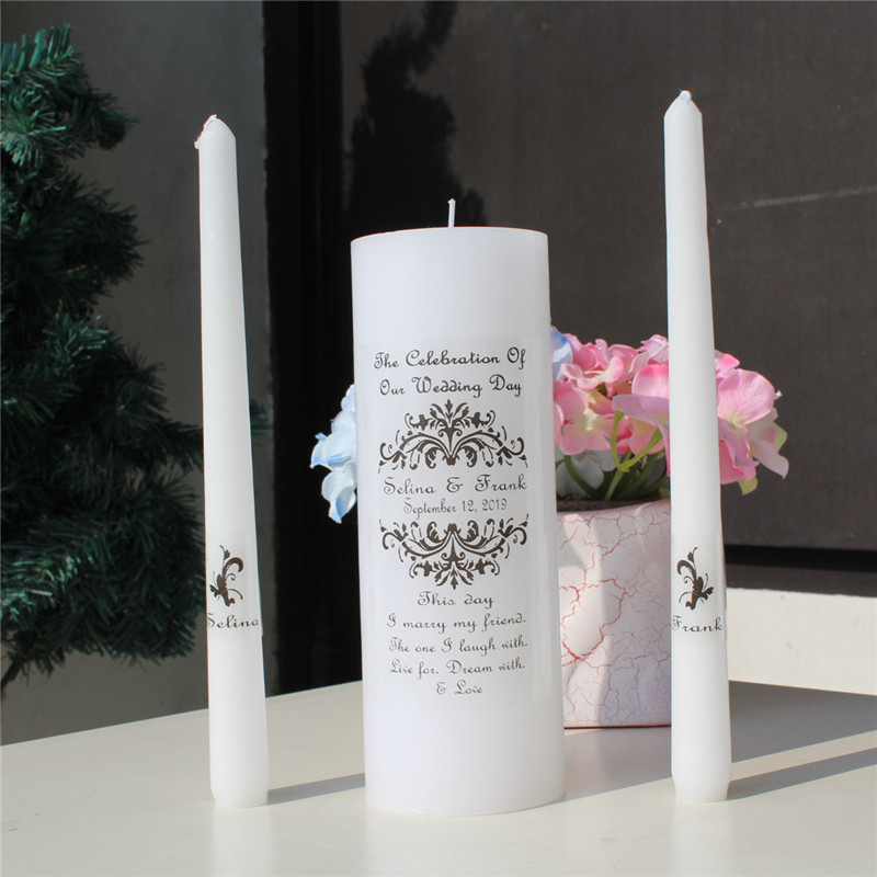 US $10 33 6% OFF|Personalized Wedding Unity Candle Set vinyl decal vintage  Church Ceremony Candle stickers Bridal Shower Gift labels ( no candle)-in
