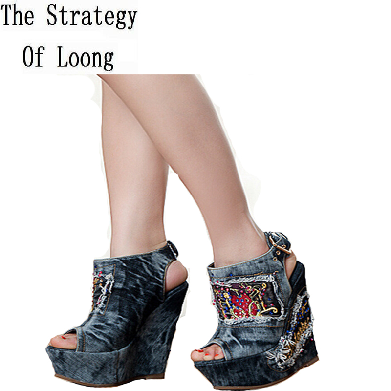 Summer High Heels Open The Toe Denim Women Sandals Fashion Brand Wedges Peep Toe Rhinestone Ankle Shoes SXQ0602 luxury brand shoes women peep toe