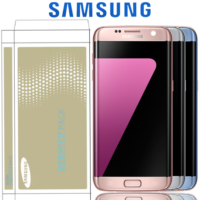شاشة 5.5 بوصة مع شاشة LCD حرق الظل مع الإطار لسامسونج غالاكسي S7 حافة G935 G935F SM G935F مجموعة المحولات الرقمية لشاشة تعمل بلمس